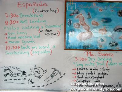 クルージング5日目のスケジュール@エスパニョーラ島(Española island)
