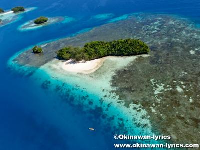 ハネムーンビーチ(Honeymoon Beach), ヘリコプター遊覧(helicopter sightseeing)@パラオ(Palau)