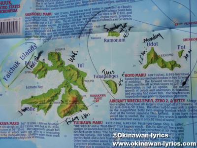 七曜諸島(Faichuk Islands)の地図