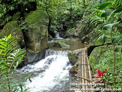 スマトラ島のスバン温泉の滝