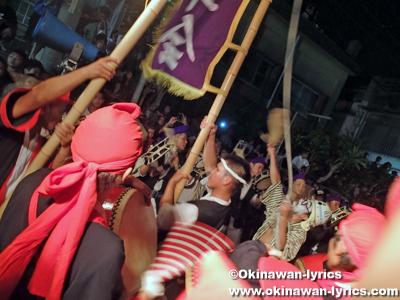 久保田青年会と山里青年会のエイサーガーエー@旧盆3日目(ウークイ)
