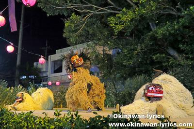 子供獅子と青年獅子@首里末吉町十五夜祭