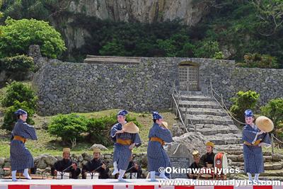 琉球舞踊(クバ笠の鳩間節)@公事清明祭,伊是名島