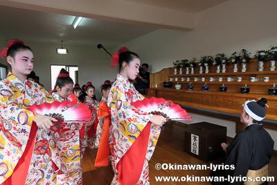 ウフドゥンチでの琉球舞踊奉納@西原町の棚原酉年12年まーるあしび(豊年祭)