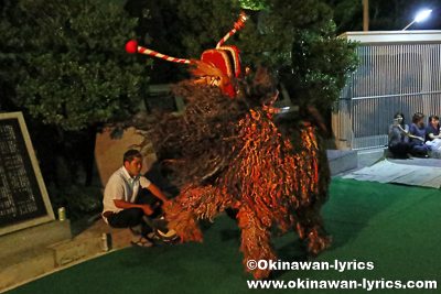 宜野湾市普天間の獅子舞@字普天間拝所,ウンケー(旧盆1日目)
