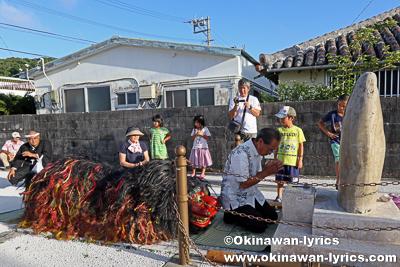 八重瀬町玻名城のシーサーウークイ(獅子舞)