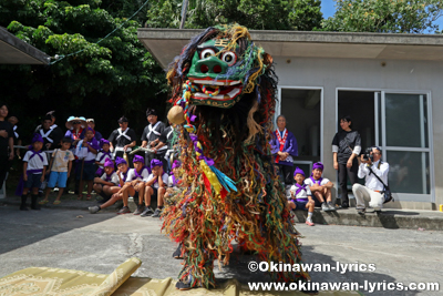 ノロ殿内での獅子舞@八重瀬町の志多伯豊年祭